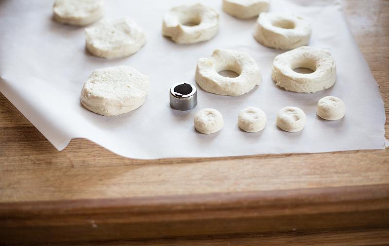 biscuit donuts in progress