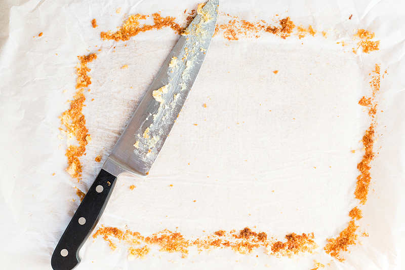 knife with gooey butter bars on it
