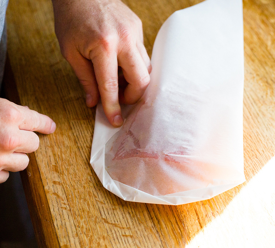 folding the salmon and parchment heart
