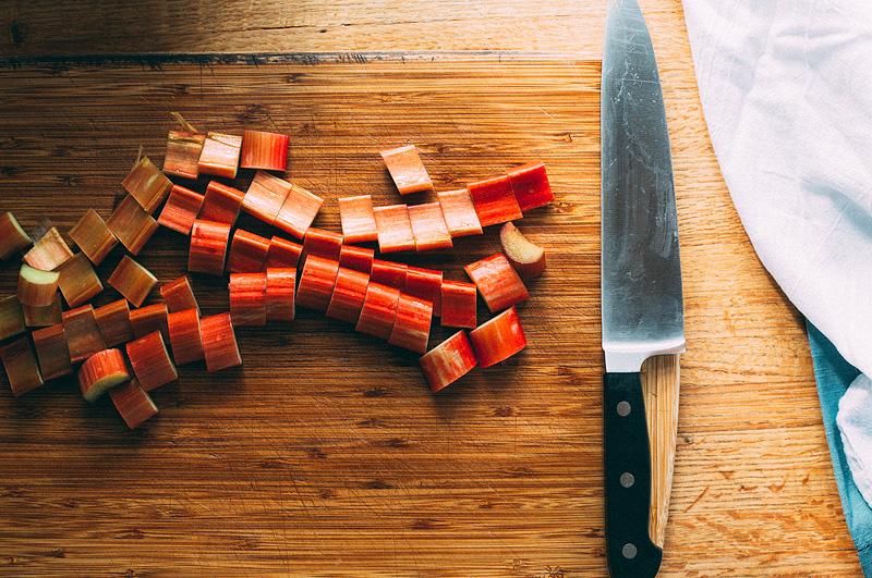 slicing rhubarb