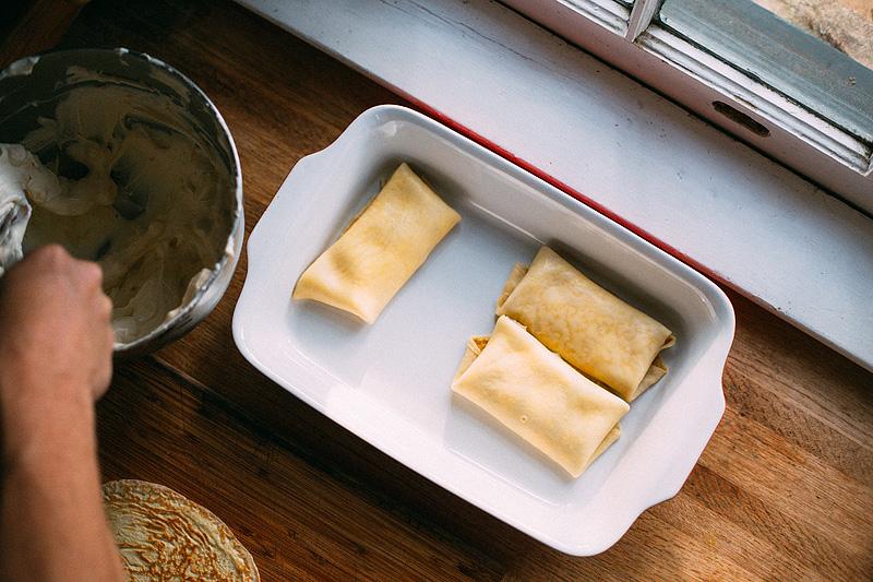 Cheese Blintzes in a casserole dish