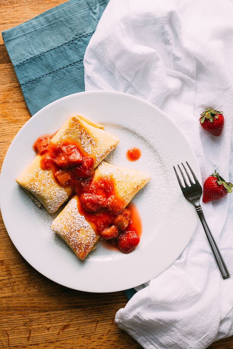 Cheese blintz with strawberry compote