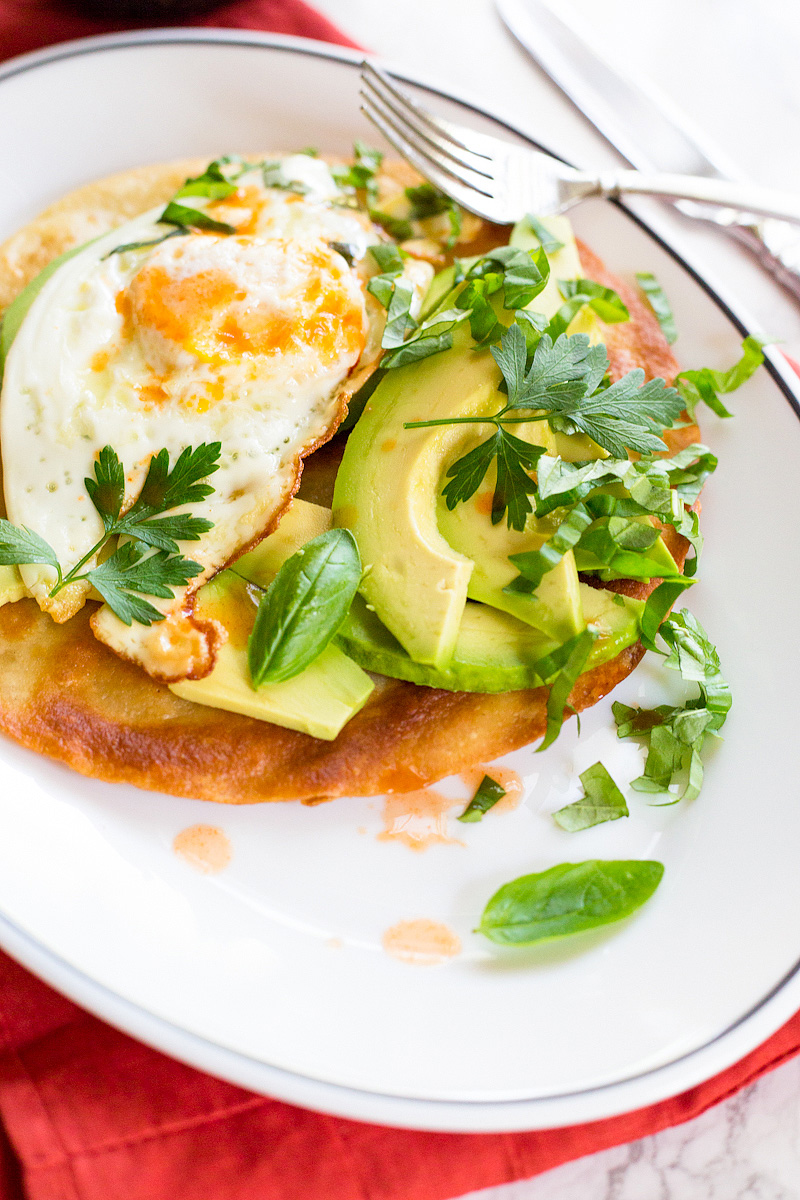 breakfast tostada with a fried egg