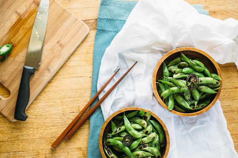 spicy toasted edamame
