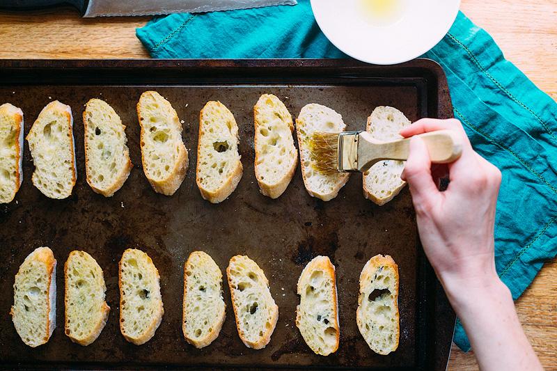 olive oil on crostini
