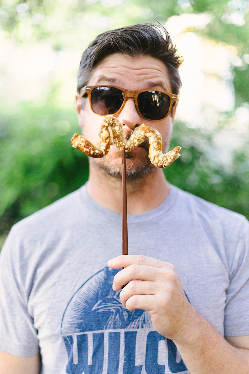 mustache pretzels in action