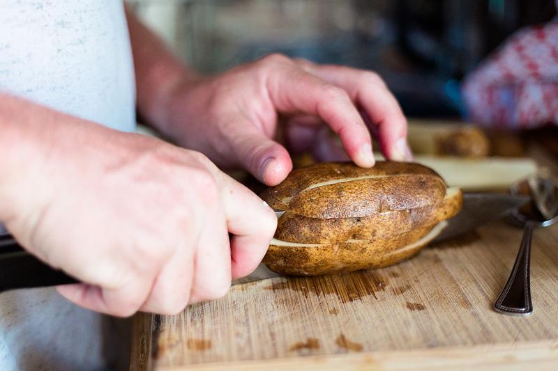 slicing a potato