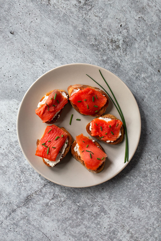 smoked salmon crostini on a plate