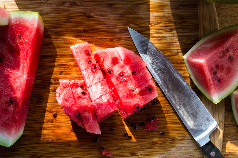 watermelon cut into chunks