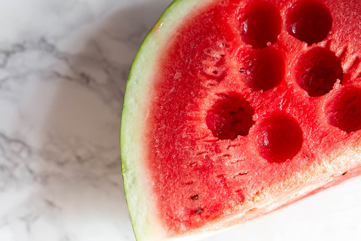 watermelon with scoops removed