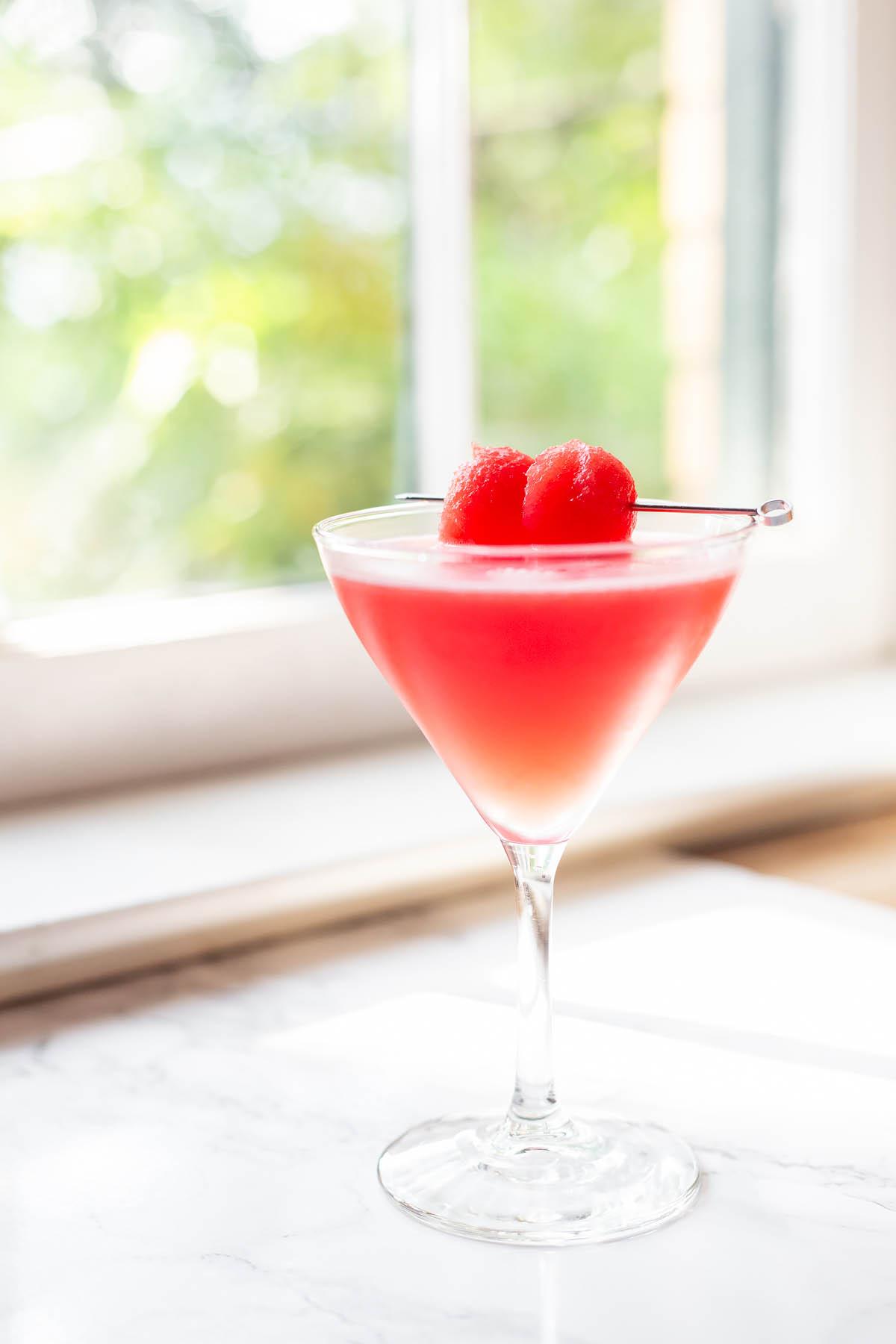 watermelon martini in a glass