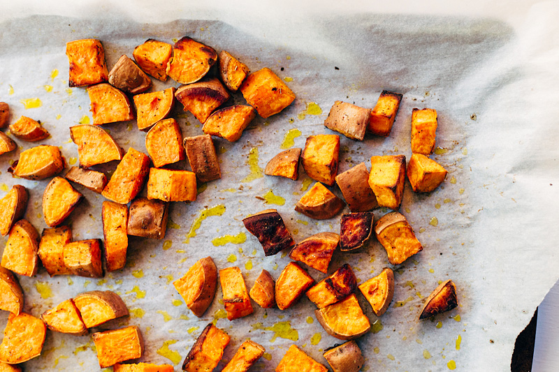 roasted coconut oil sweet potatoes