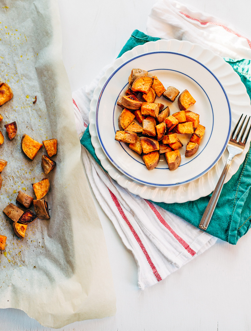 coconut oil sweet potatoes on a plate