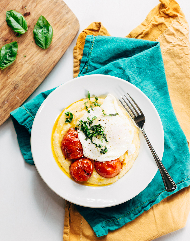 polenta with tomatoes topped with fresh basil