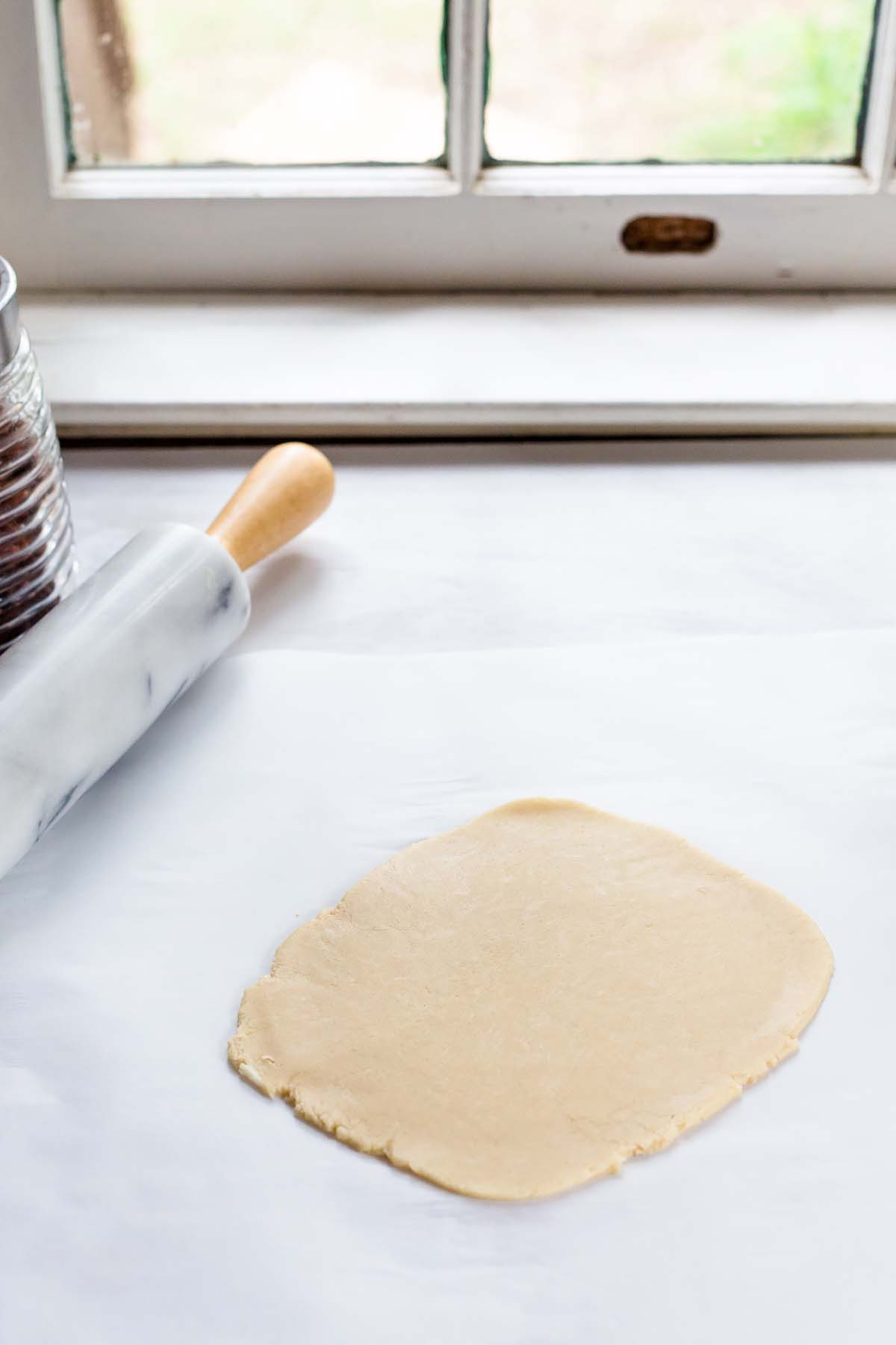 pie dough being rolled out