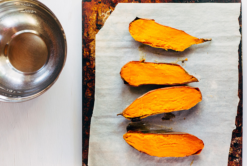 sweet potatoes sliced in half