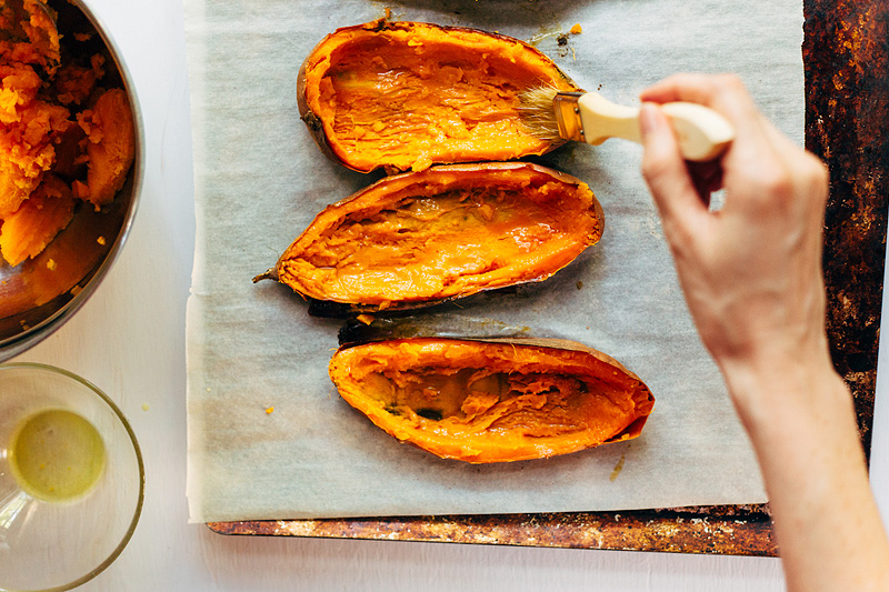 making sweet potato skins