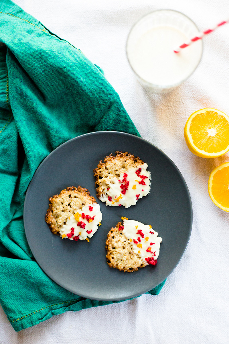 white chocolate florentines with cranberry and orange zest. From foodbanjo.com