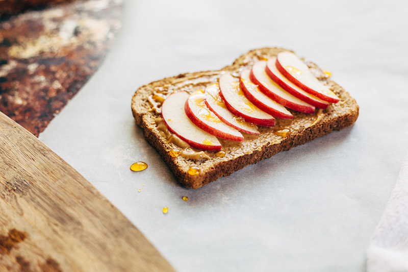 Peanut Butter Toast with Apples and Honey