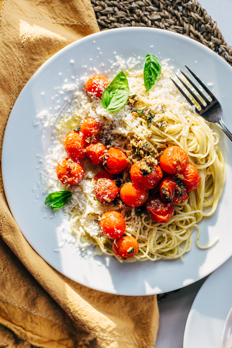 Tomato Basil Pasta with Parmesan and a fork