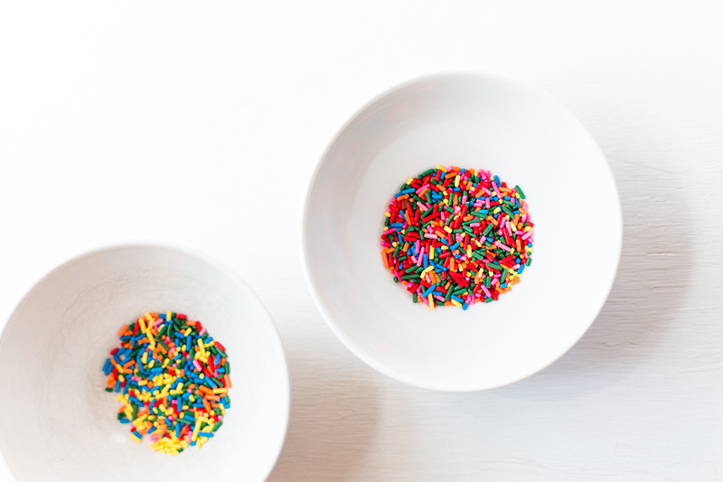 Sprinkles in two bowls