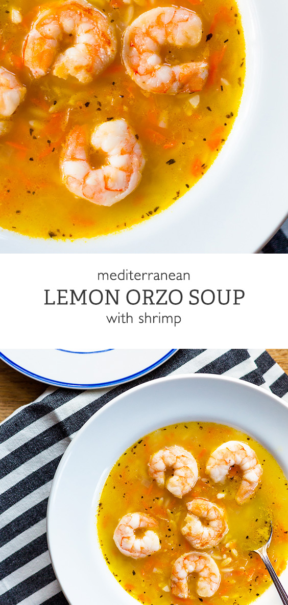 Lemon Orzo Soup with Shrimp. Healthy, super-quick, and delicious!