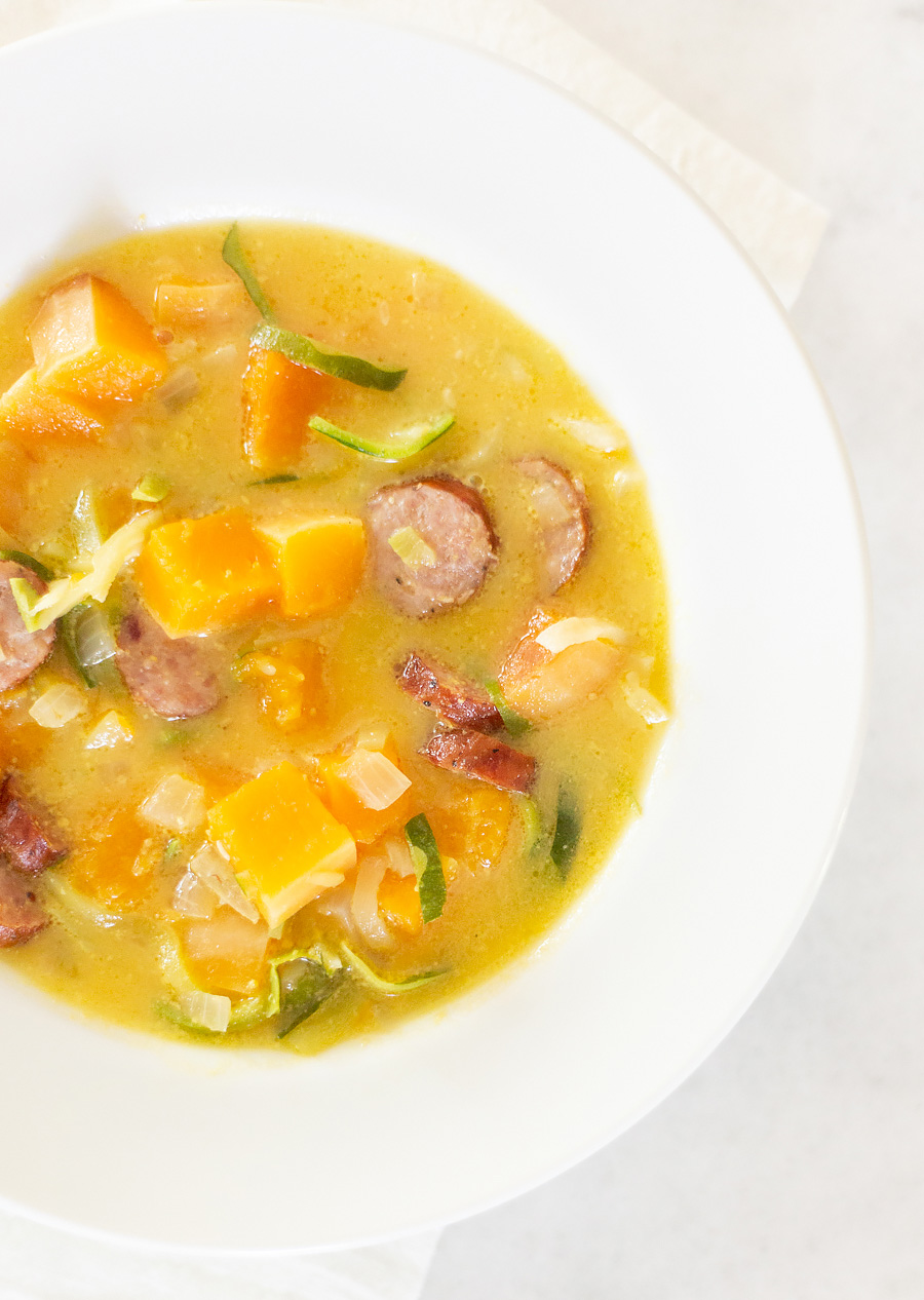 Butternut Squash Soup With Sausage and Zoodles. It's Whole30, healthy, and delicious!