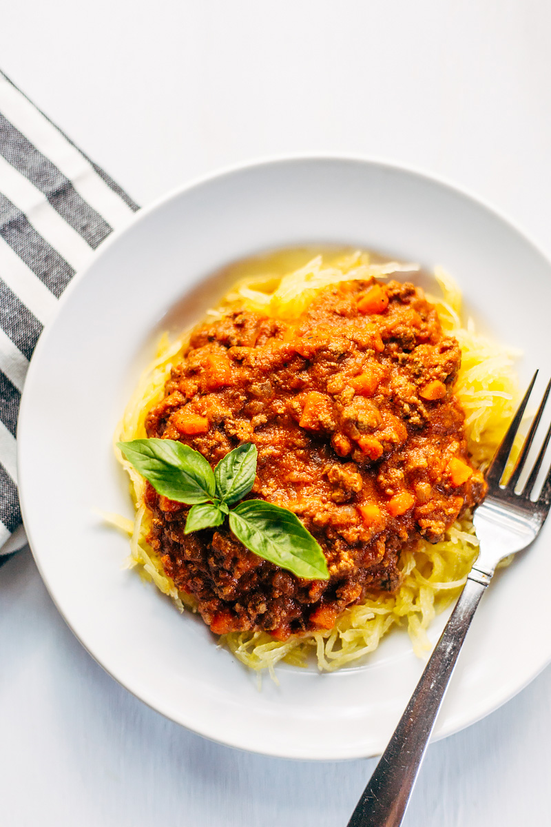Delicious bolognese sauce with spaghetti squash. Whole30 and paleo!