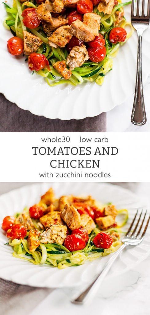 Whole30 Tomato and Chicken Pasta with Zucchini Noodles from Food Banjo
