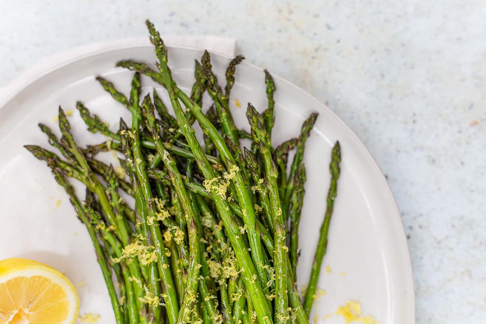 Roasted Asparagus with Lemon Zest on a plate