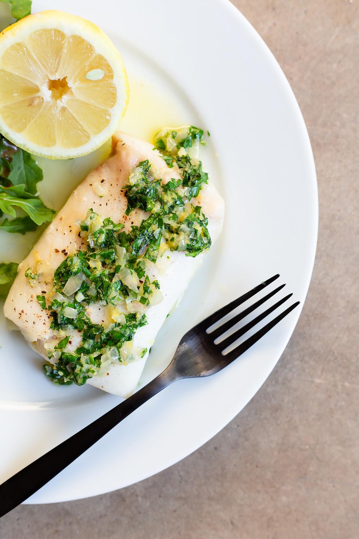 Cod with a Lemon Butter Shallot Sauce