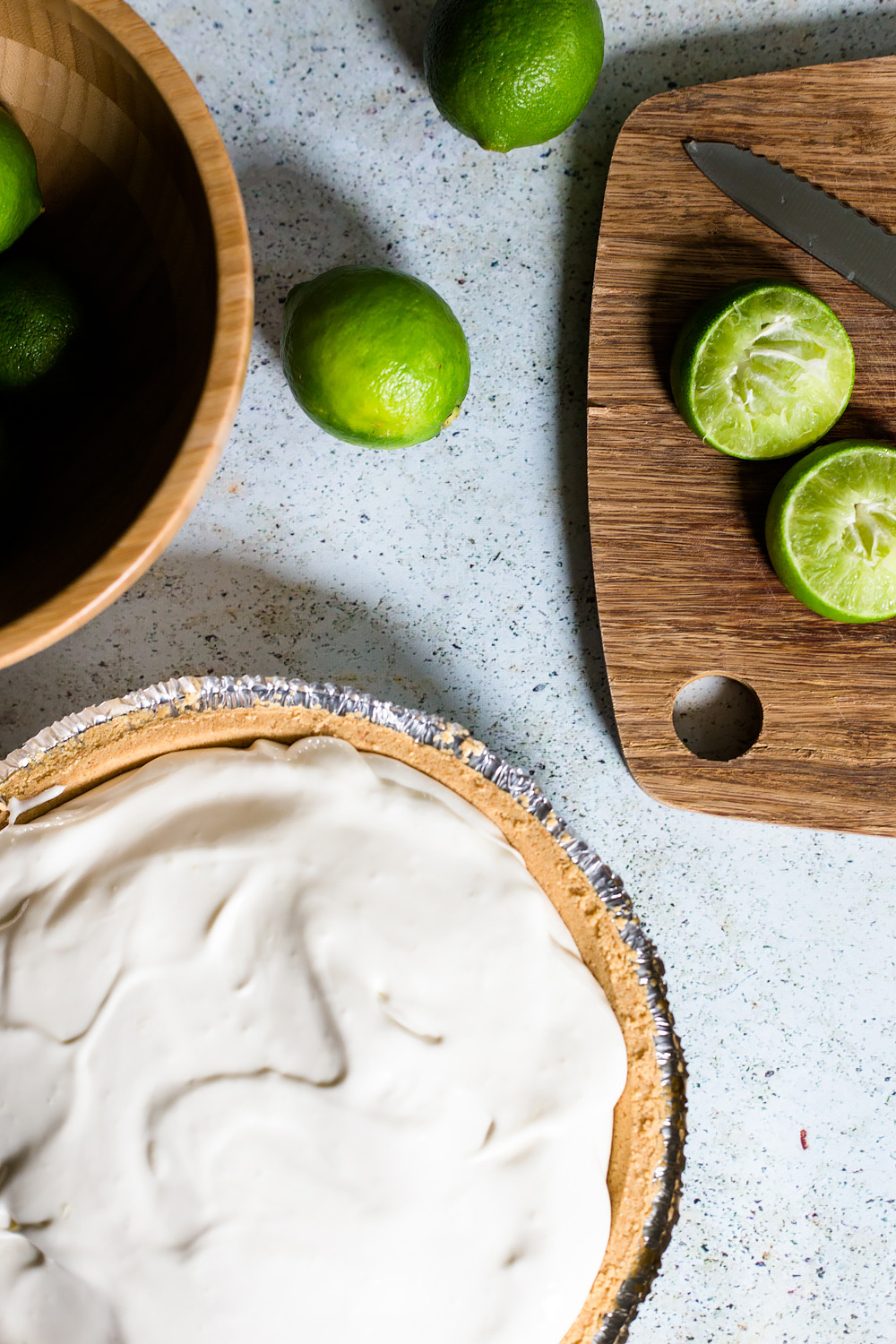 Limeade Pie about to go in the refrigerator