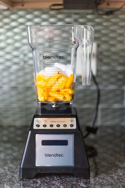 Peach Bellini ingredients in blender