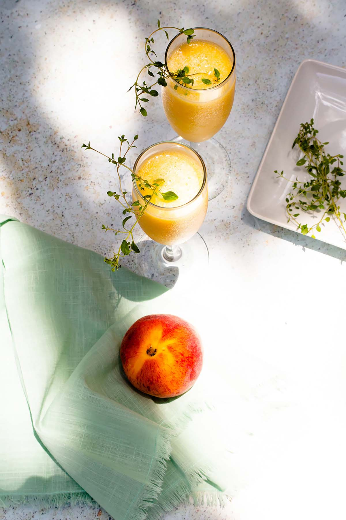 nonalcoholic peach bellinis from above