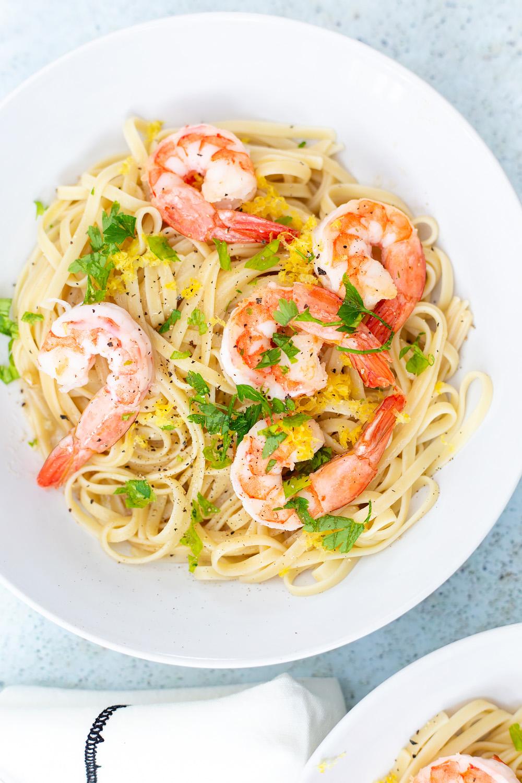 garlic butter shrimp scampi in a bowl