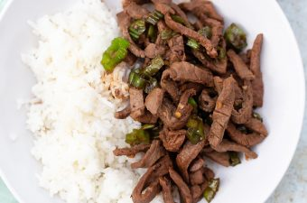 steak and shishito peppers