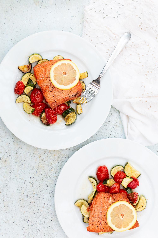 pan fried salmon with roasted veggies