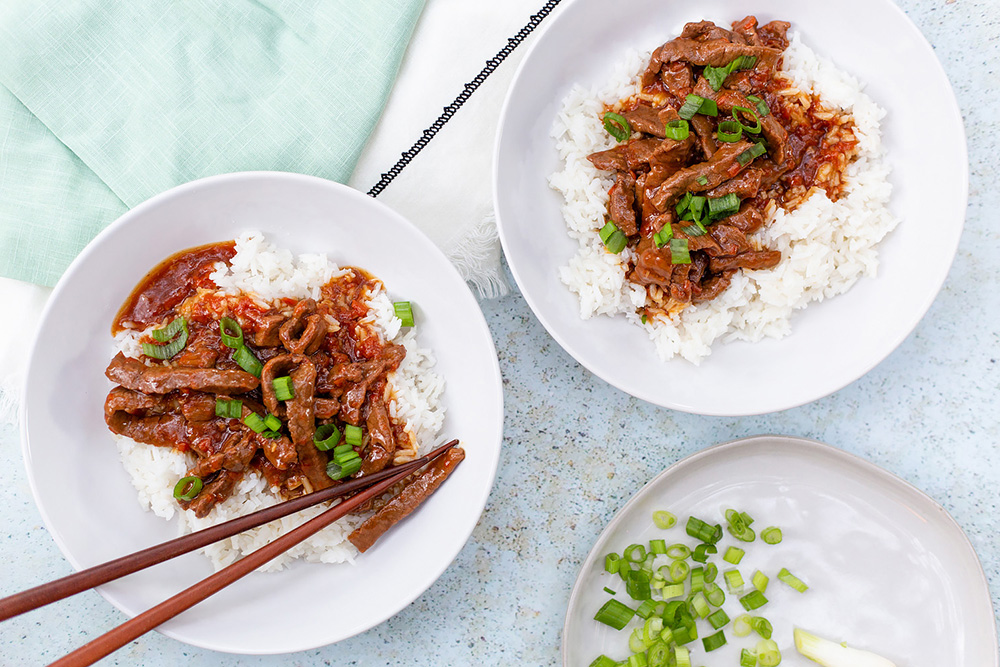 Instant Pot Mongolian Beef in bowls