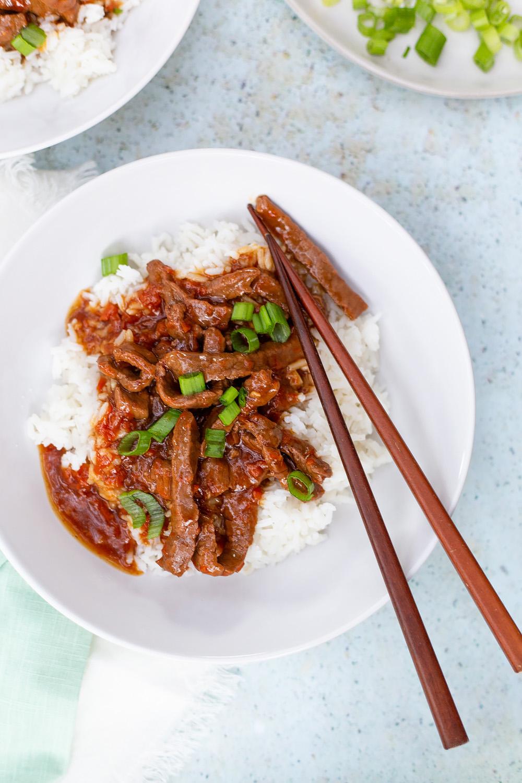 mongolian beef with chopsticks