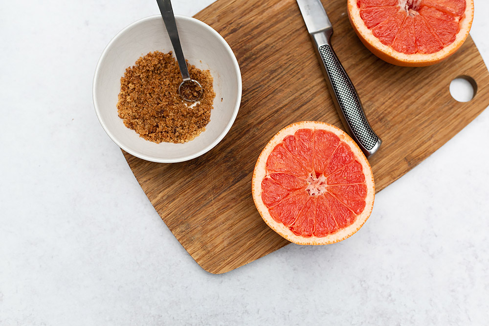 grapefruit on a cutting board