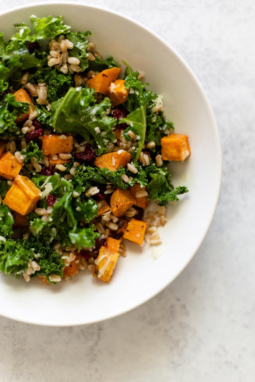 farro bowl with sweet potato and kale