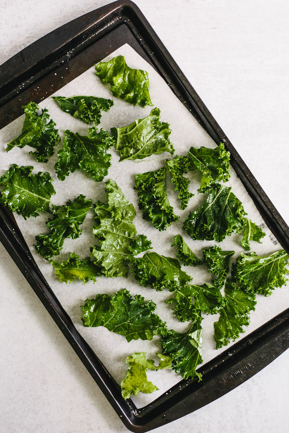 kale chips on a sheet