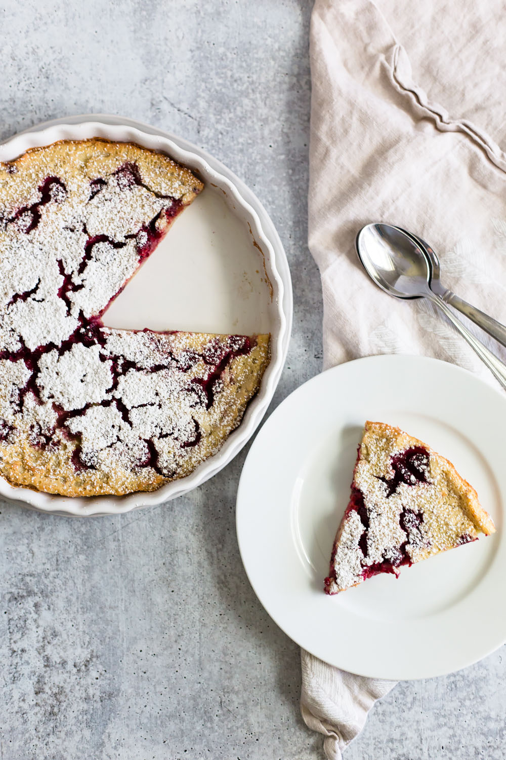 Raspberry Clafoutis with a slice