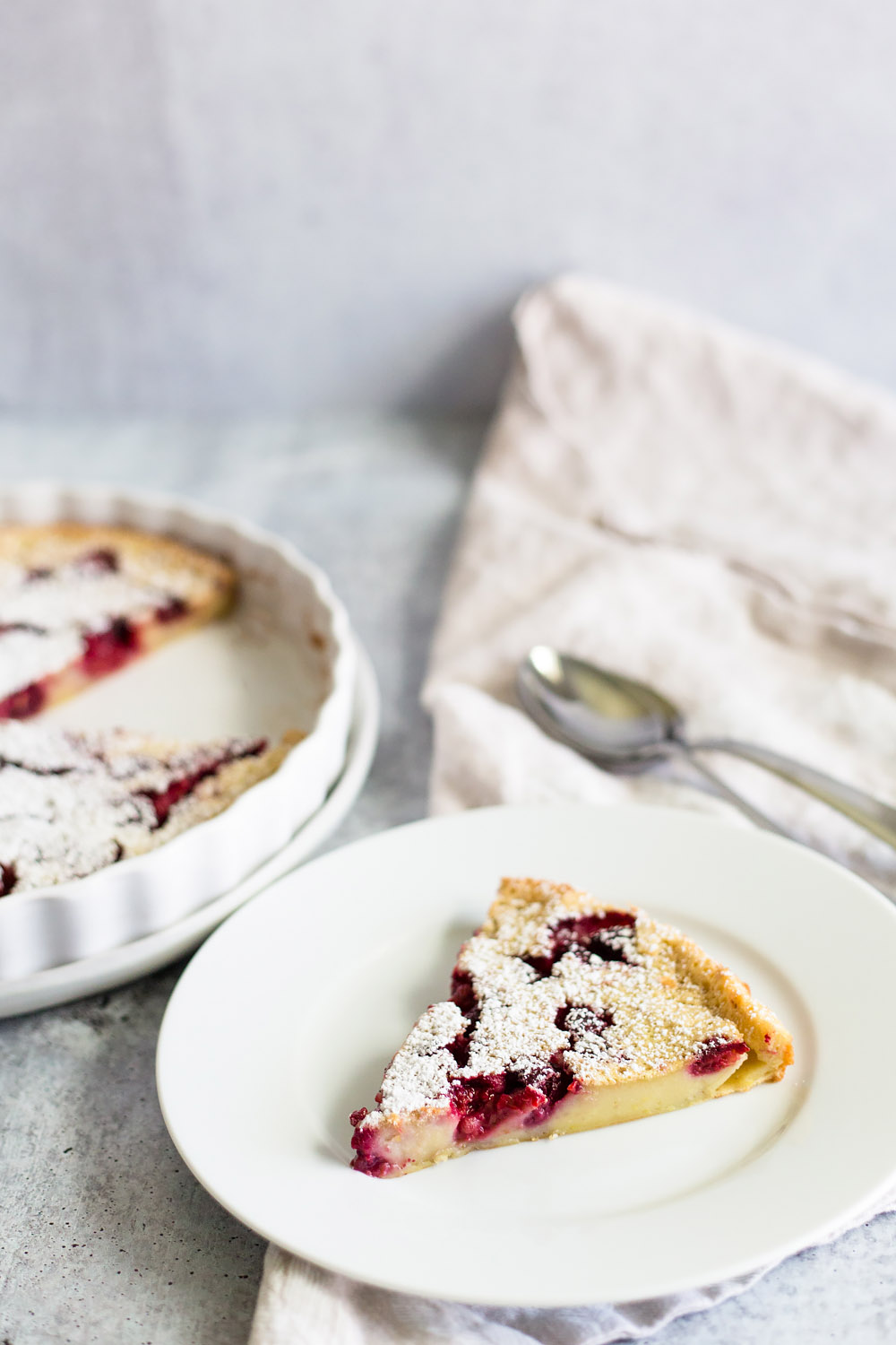 Raspberry Clafoutis on a plate