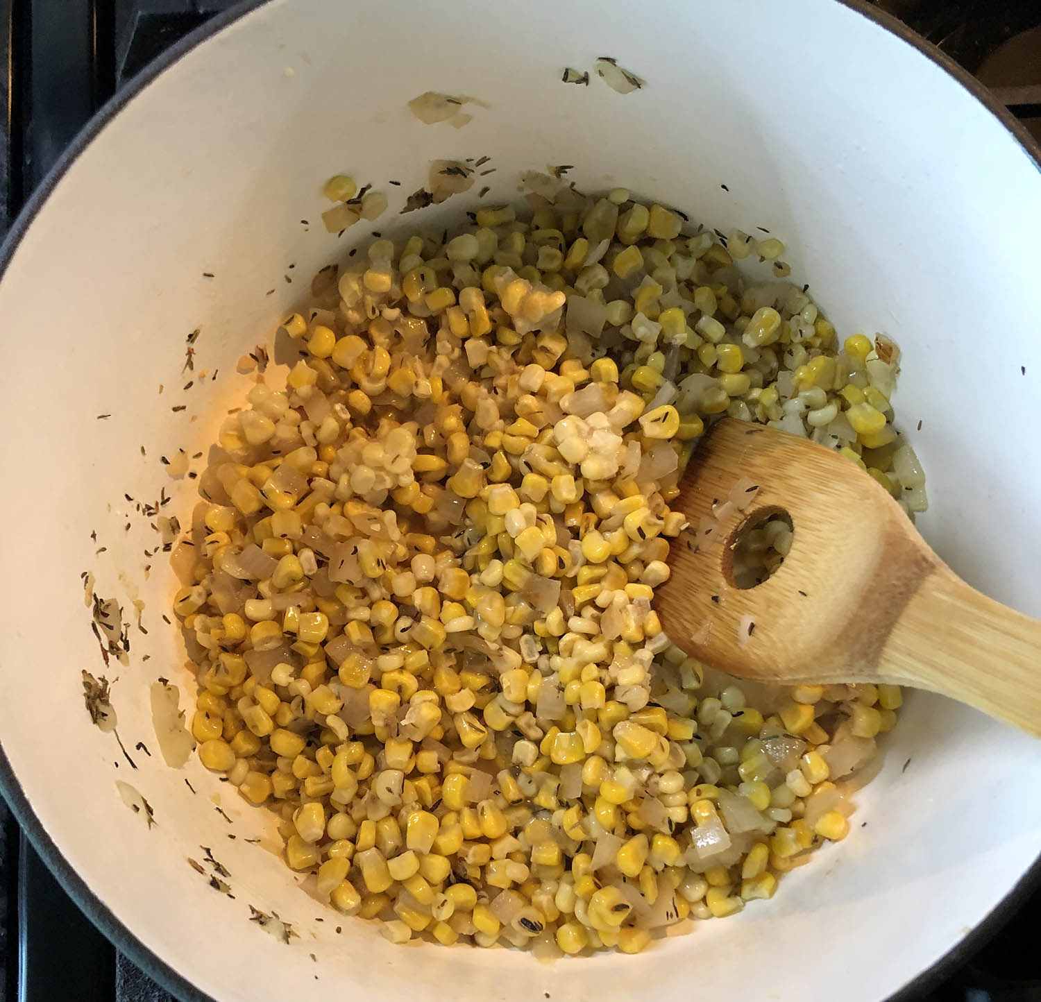 corn cooking in a pot