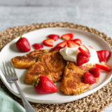 strawberry croissant french toast on a plate