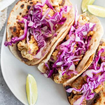vegan cauliflower tacos up close