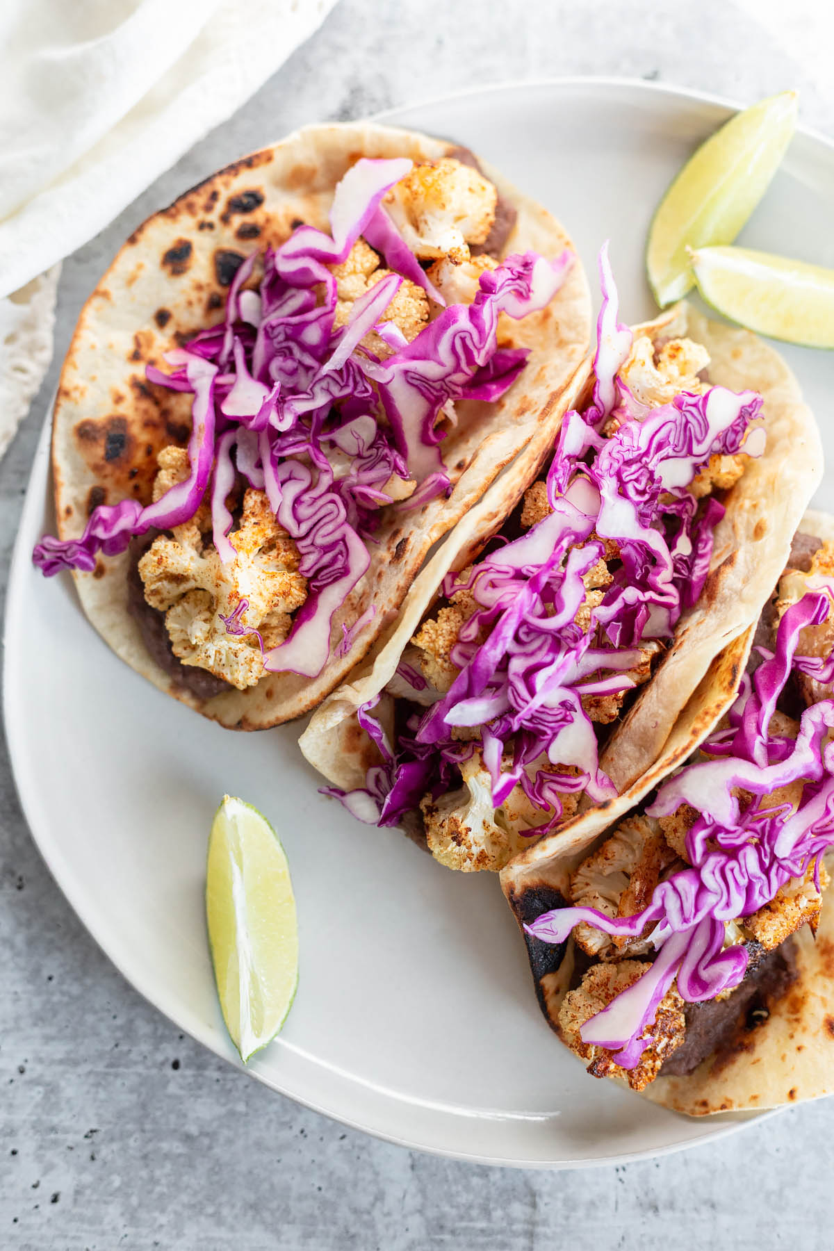 vegan cauliflower tacos up close