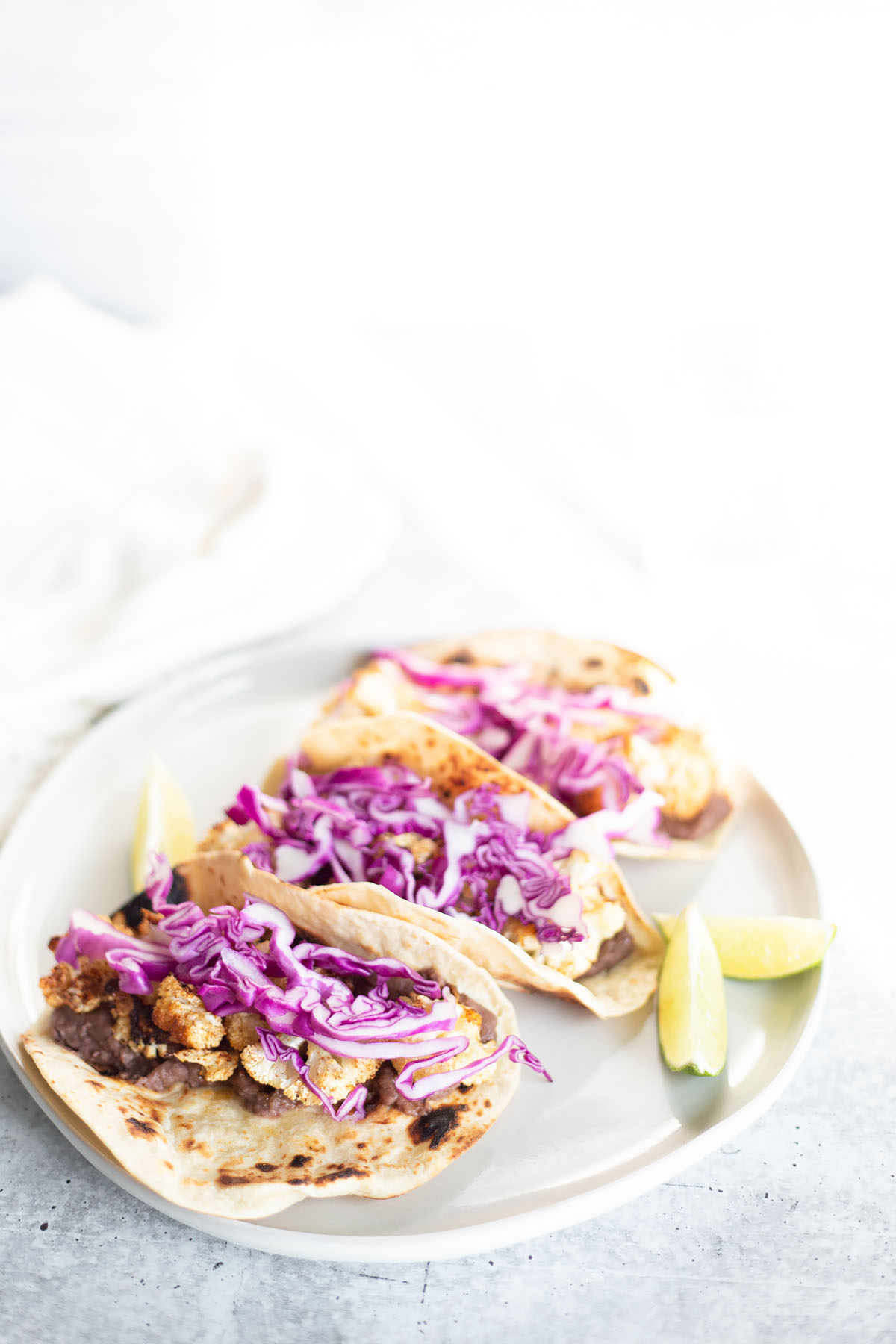 cauliflower tacos with red cabbage