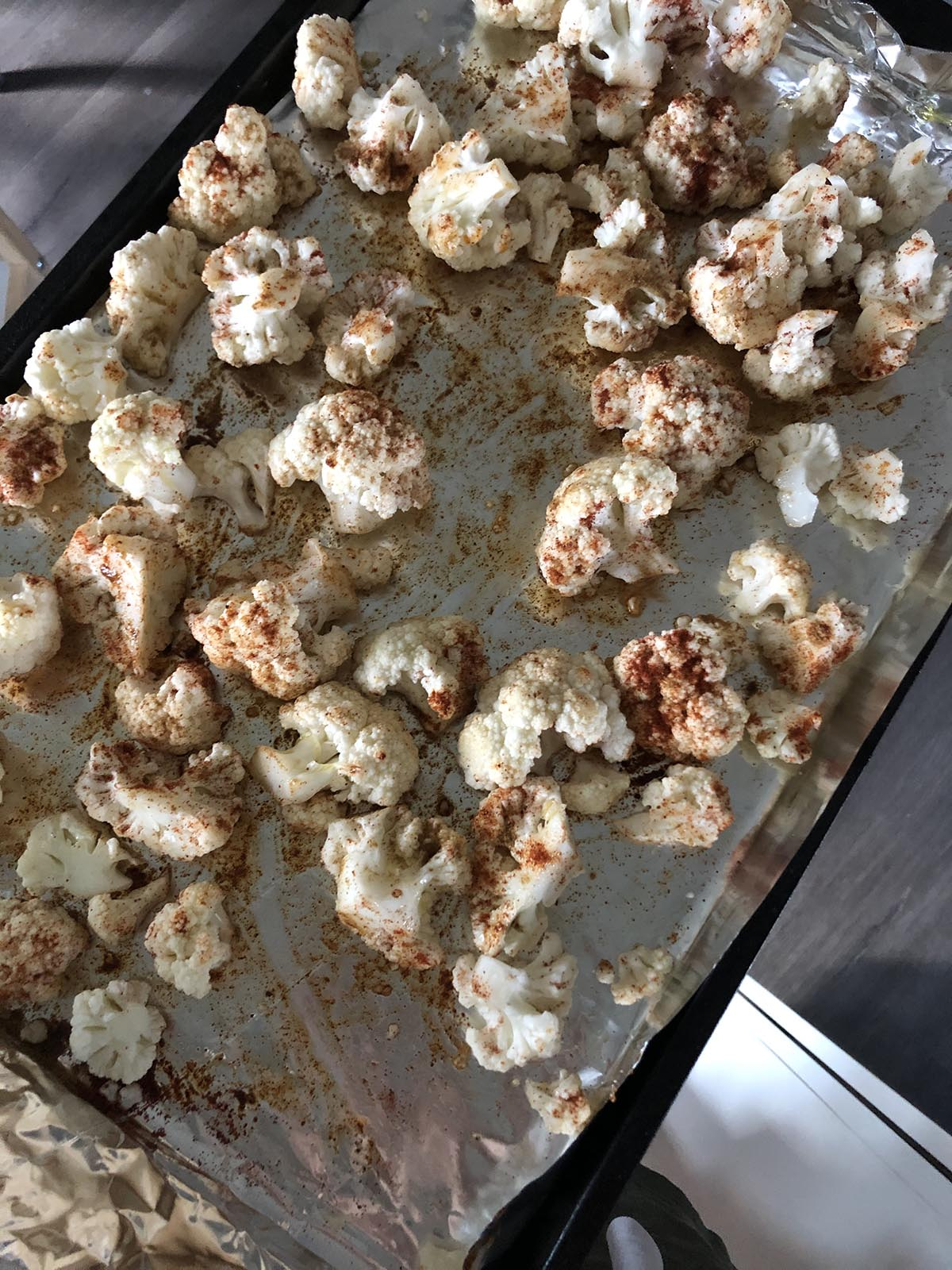 cauliflower florets seasoned with cumin
